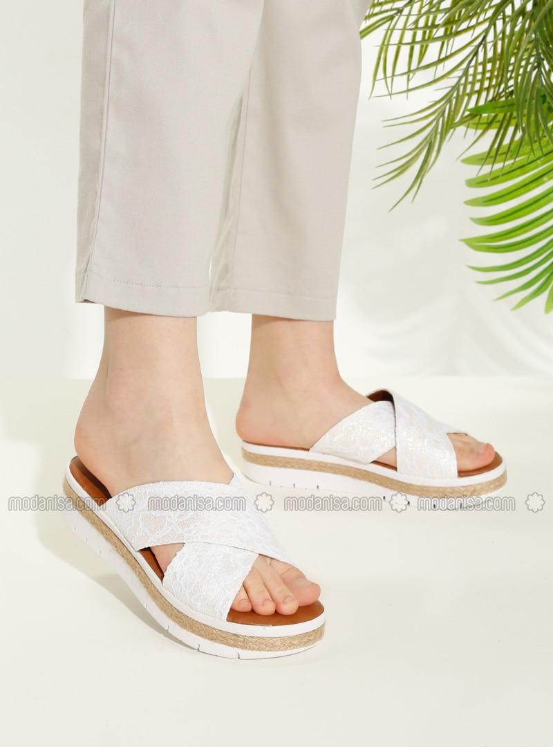 White - Ecru - Sandal - Slippers - TWIGY