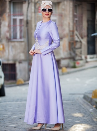 Lilac - Button Collar - Unlined - Dress