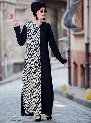 Black - Multi - Unlined - Button Collar - Abaya