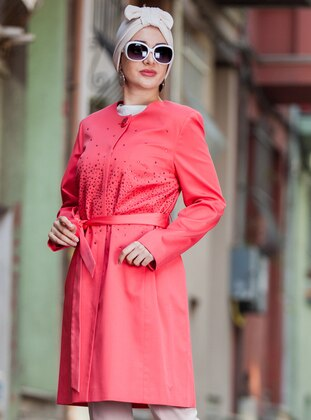 Coral - Fully Lined - Crew neck - Plus Size Coat