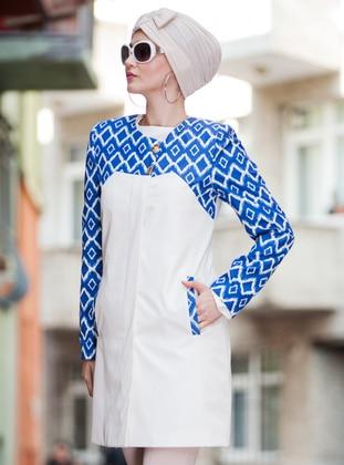 Blue - White - Fully Lined - Crew neck - Topcoat