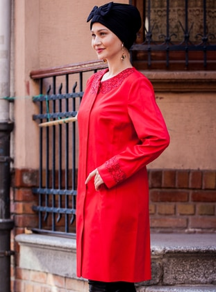Red - Fully Lined - Crew neck - Plus Size Coat