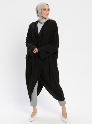 Black - Shawl Collar - Tunic