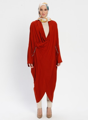 Red - Terra Cotta - Shawl Collar - Tunic