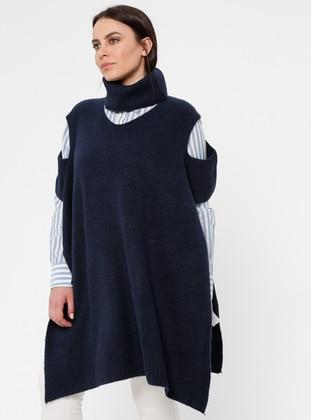 Navy Blue - Polo neck - Acrylic -  - Plus Size Poncho - Okçu