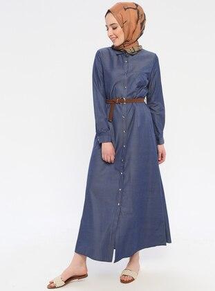 Blue - Point Collar - Unlined - Dress