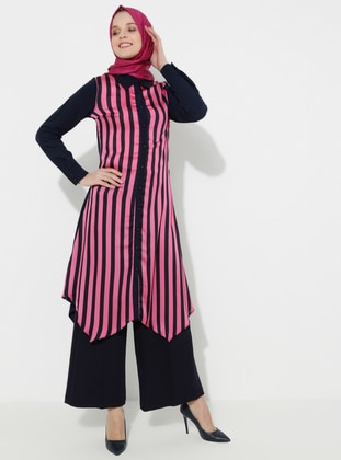 Black - Fuchsia - Stripe - Point Collar - Tunic