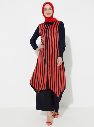 Red - Black - Stripe - Point Collar - Tunic
