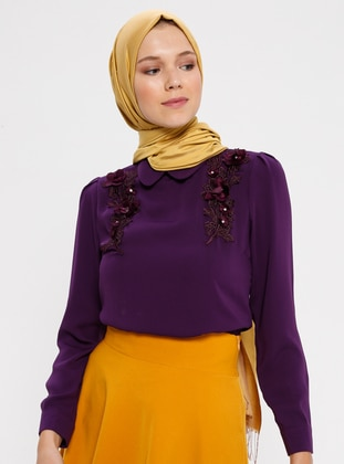 Purple - Round Collar - Blouses