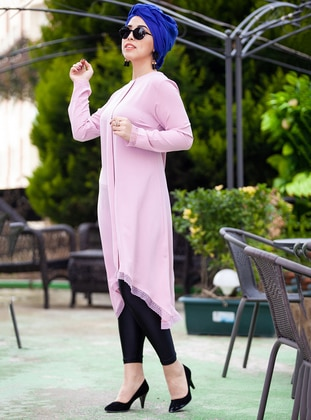 Pink - Crew neck - Plus Size Tunic