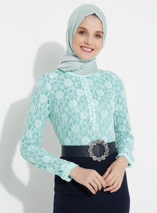Mint - Floral - Round Collar - Blouses