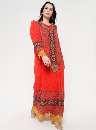 Coral - Ethnic - Crew neck - Fully Lined - Dress