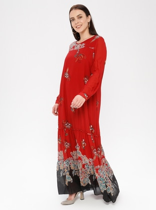 Terra Cotta - Floral - Ethnic - Crew neck - Fully Lined - Dress