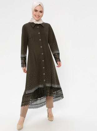 Khaki - Unlined - Point Collar - Abaya