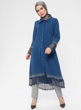Indigo - Unlined - Point Collar - Abaya