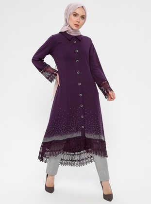 Purple - Unlined - Point Collar - Abaya