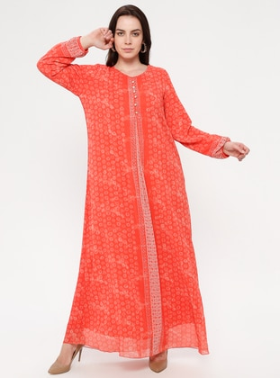Coral - Multi - Crew neck - Fully Lined - Dress