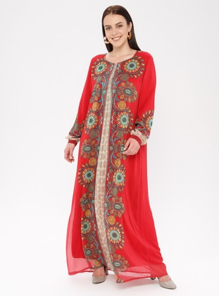 Coral - Floral - Ethnic - Crew neck - Fully Lined - Dress