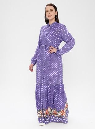 Purple - Polka Dot - Button Collar - Unlined - Dress