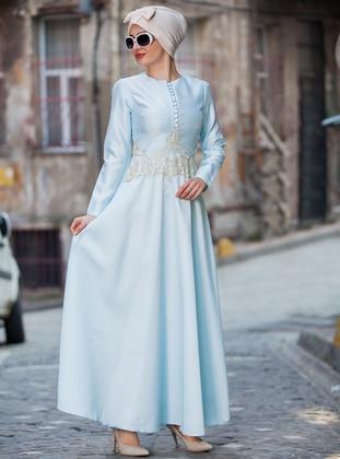 Baby Blue - Button Collar - Unlined - Dress
