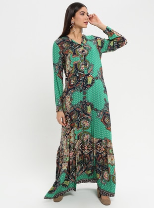 Green - Navy Blue - Multi - V neck Collar - Unlined - Dress