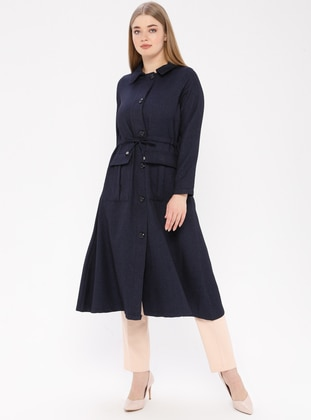 Navy Blue - Unlined - Point Collar - Plus Size Coat