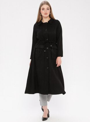 Black - Unlined - Point Collar - Plus Size Coat