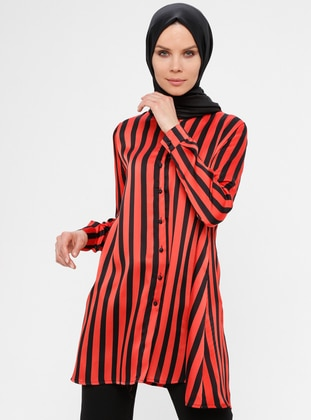 Red - Stripe - Crew neck - Tunic