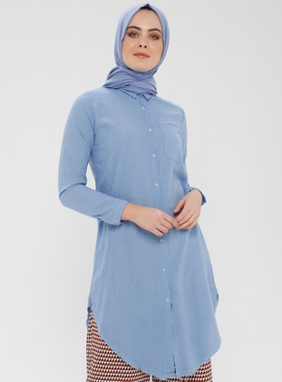 Blue - Point Collar - Cotton - Tunic
