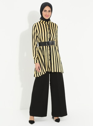 Black - Yellow - Stripe - Crew neck - Tunic