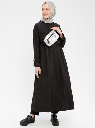 Black - Fully Lined - Polo neck - Denim - Trench Coat
