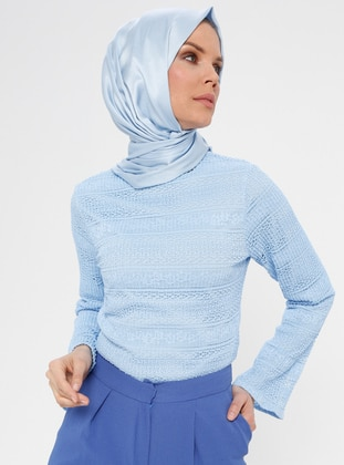 Baby Blue - Multi - Crew neck - Blouses