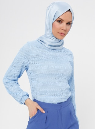 Baby Blue - Multi - Polo neck - Blouses