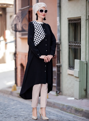 Black - White - Button Collar - Tunic