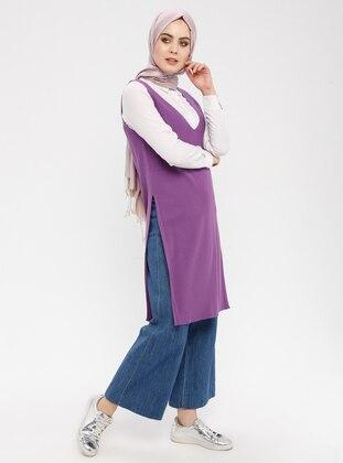 Purple - V neck Collar - Jumper