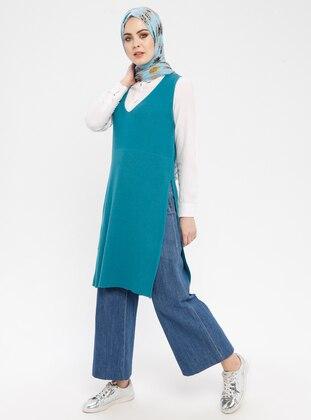 Petrol - V neck Collar - Dress