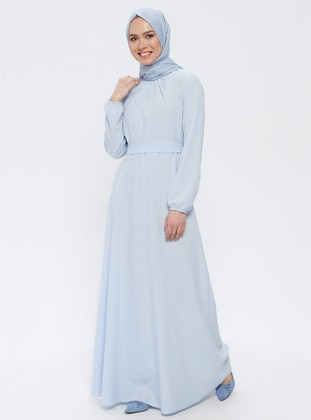 Baby Blue - Round Collar - Unlined - Dress