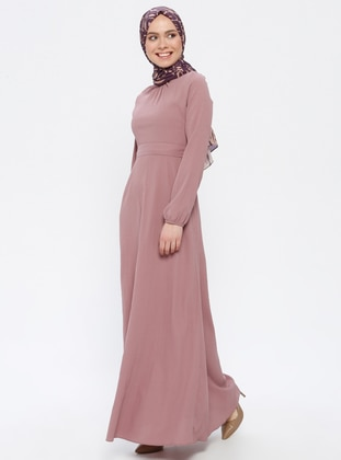 Dusty Rose - Round Collar - Unlined - Dress