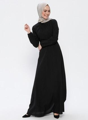 Black - Round Collar - Unlined - Dress