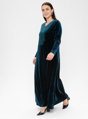 Mint - Floral - V neck Collar - Unlined - Dress