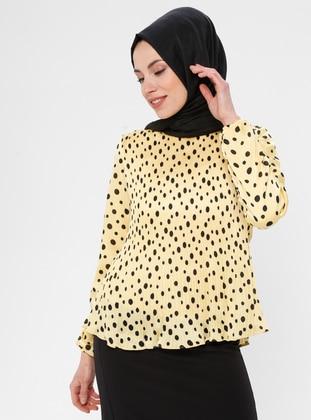 Mustard - Polka Dot - Crew neck - Blouses