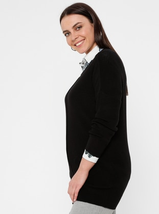 Black - Crew neck - Acrylic -  - Plus Size Tunic