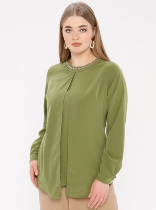 Khaki - Crew neck - Viscose - Plus Size Blouse - Tuana