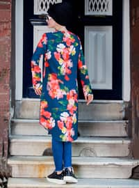 Navy Blue - Floral - Crew neck - Tunic