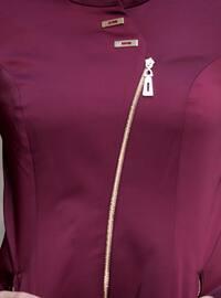 Maroon - Fully Lined - Crew neck - Topcoat