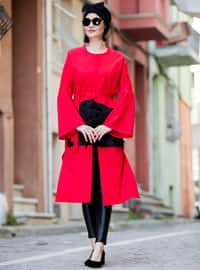 Red - Black - Unlined - Crew neck - Cotton - Topcoat