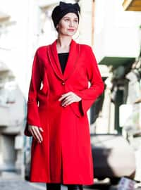 Red - Unlined - V neck Collar - Cotton - Topcoat