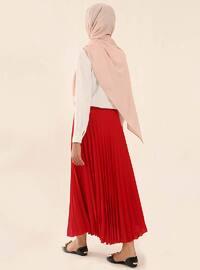 Red - Fully Lined - Crepe - Skirt