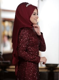 Maroon - Multi - Fully Lined - Crew neck - Muslim Evening Dress