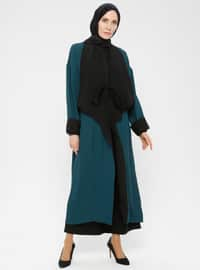 Green - Black - Unlined - Shawl Collar - Crepe - Jacket